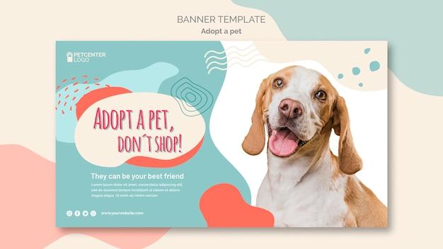 Adote um design de modelo de banner para animais de estimação