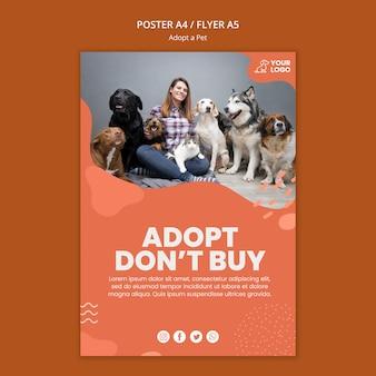 Adote um design de modelo de cartaz para animais de estimação