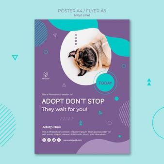 Adote um estilo de cartaz quadrado de conceito de animal de estimação