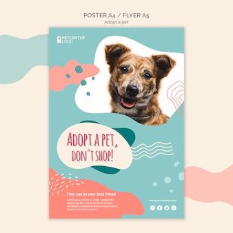 Adote um estilo de panfleto de cartaz para animais de estimação