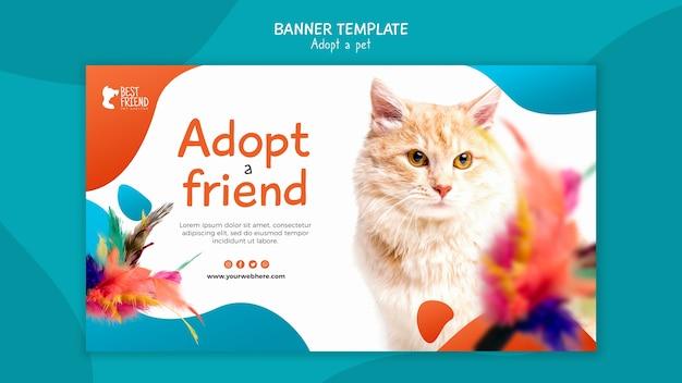 Adote um modelo de banner de amigo fofo de gatinho