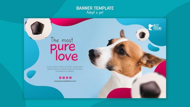 Adote um modelo de banner de cachorro fofo de estimação