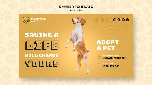 Adote um modelo de banner do conceito de animal de estimação