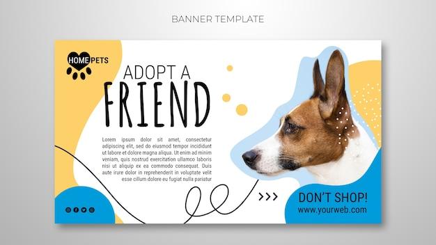 Adote um modelo de banner para animais de estimação com foto de cachorro