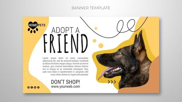 Adote um modelo de banner para animais de estimação com foto