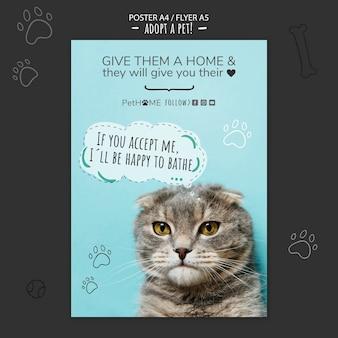 Adote um modelo de cartaz de amigo com foto de gato