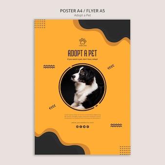 Adote um modelo de cartaz de cachorro border collie de estimação