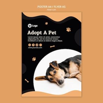 Adote um modelo de cartaz do conceito de animal de estimação