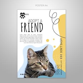 Adote um modelo de cartaz para animais de estimação com foto de gato