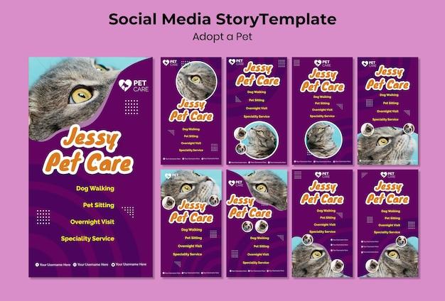 Adote um modelo de história de mídia social para animais de estimação