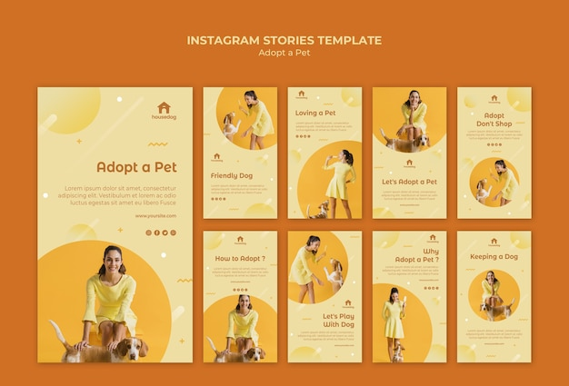 Adote um modelo de histórias do instagram para cães