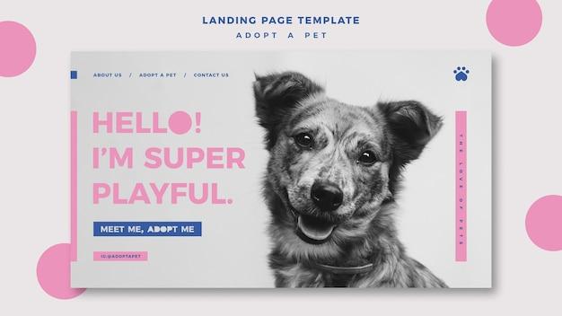 Adote um modelo de página de destino do conceito de animal de estimação
