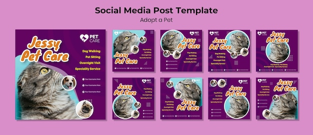 Adote um modelo de postagem de mídia social para animais de estimação
