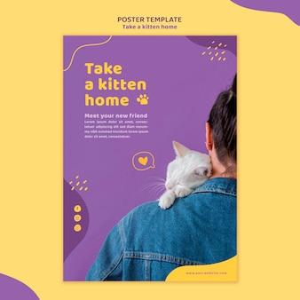Adote um modelo de pôster de gatinho
