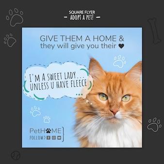 Adote um panfleto quadrado de amigo com foto
