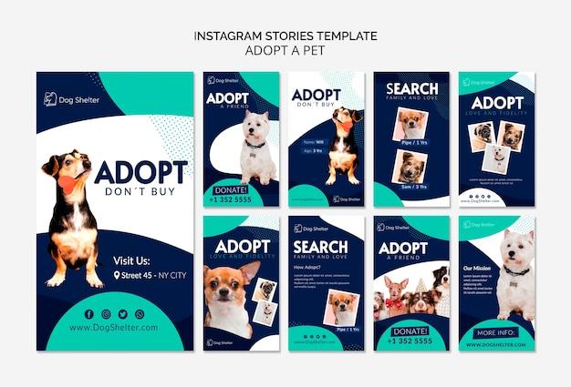 Adote uma coleção de histórias do instagram para animais de estimação