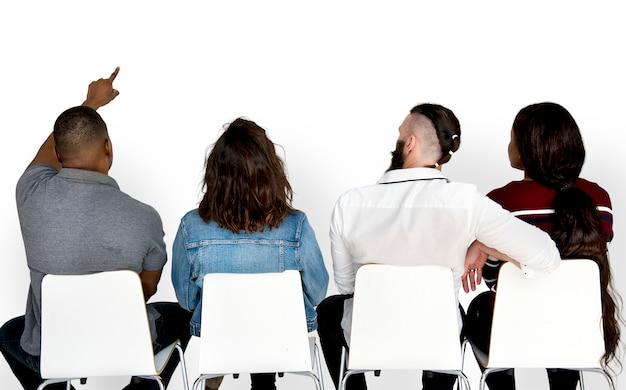 Adulto, pessoas, amizade, sentar, junto, estúdio