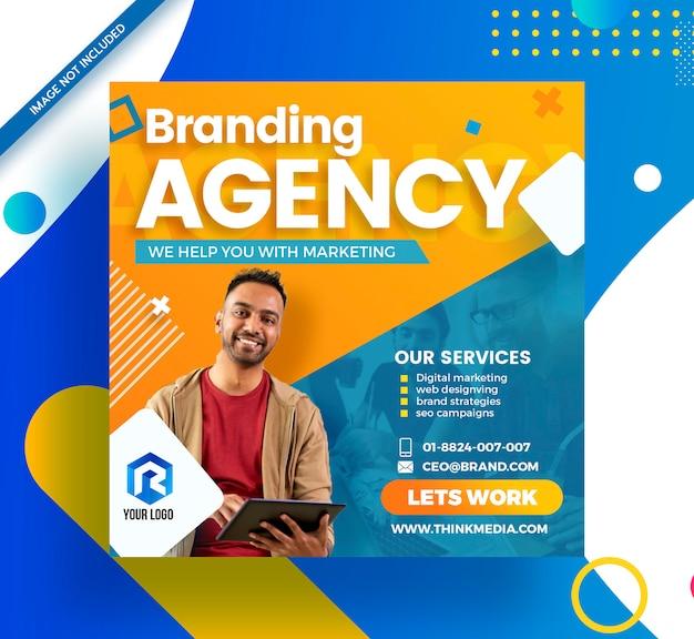Agência de branding mídia social corporativa banner moderno