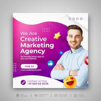Agência de marketing de mídia social modelo de pós-promoção de mídia social psd premium