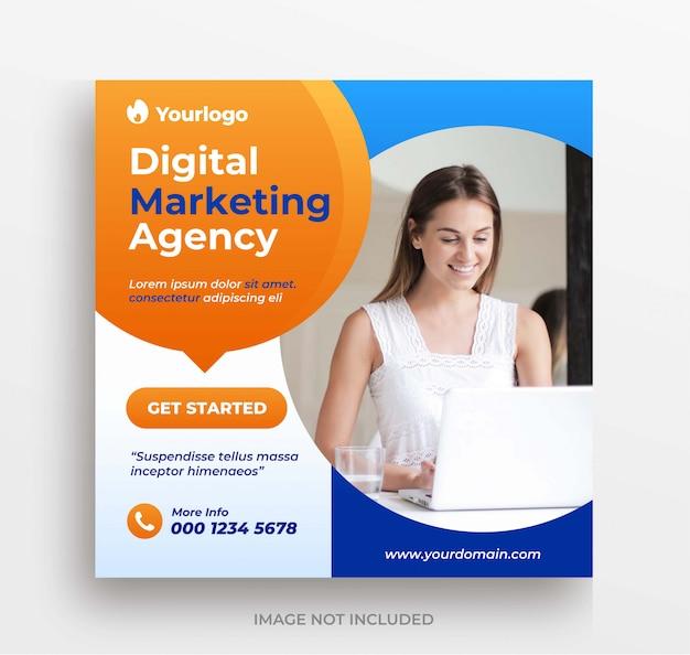 Agência de marketing de negócios online instagram post ou banner modelo quadrado