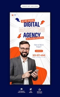 Agência de marketing digital e modelo de história corporativa no facebook e instagram