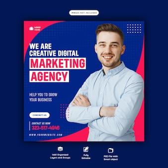 Agência de marketing digital e modelo de postagem de mídia social corporativa