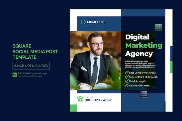 Agência de marketing digital e postagem em mídia social corporativa ou modelo de banner quadrado da web