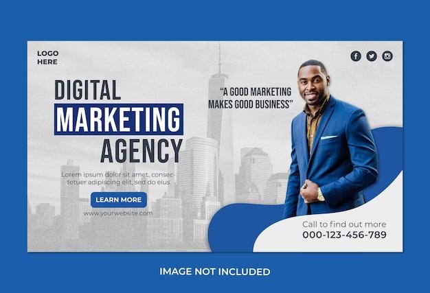 Agência de marketing digital empresarial e modelo de banner web corporativo