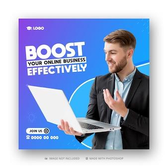 Agência de marketing digital mídia social postagem no instagram, banner da web ou modelo de flyer quadrado