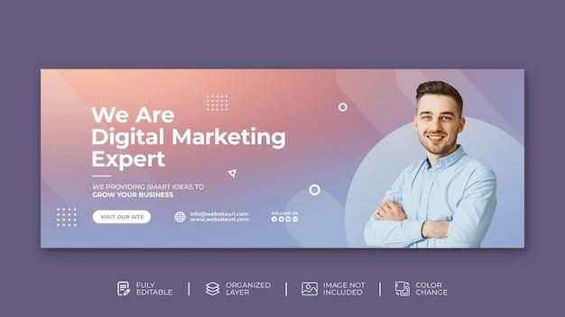 Agência de marketing digital modelo de design de capa do facebook psd
