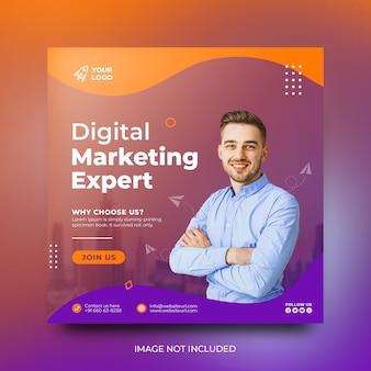 Agência de marketing digital moderna seminário on-line ao vivo e modelo de postagem em mídia social corporativa psd grátis