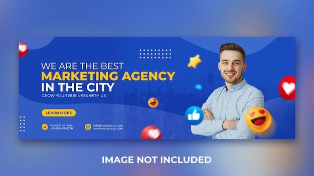 Agência de marketing digital para promoção de mídia social postar modelo de design de capa do facebook