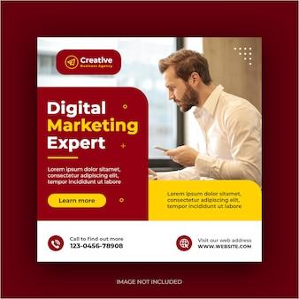Agência de marketing digital, postagem no instagram de mídia social, banner da web ou flyer quadrado