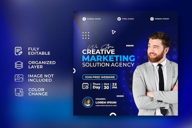 Agência de soluções de marketing de negócios corporativos modelo de banner quadrado de mídia social psd grátis
