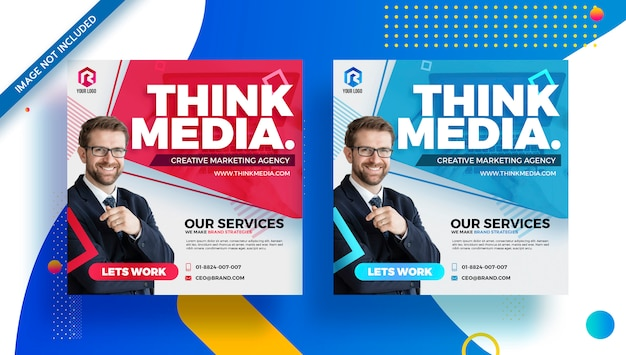 Agência marca empresa mídia social panfleto banner moderno