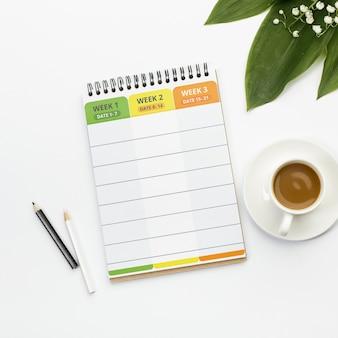 Agenda com o conceito de planejador semanal