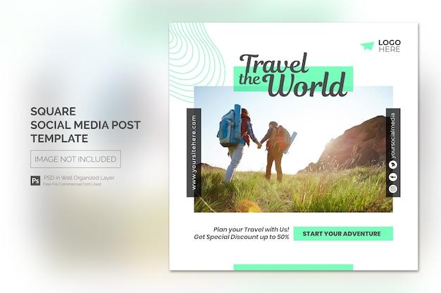 Agente de viagens e banner quadrado de turismo ou modelo de postagem em mídia social