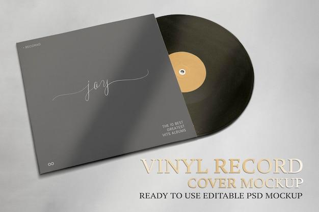 Álbum de música de maquete de psd com capa de disco de vinil