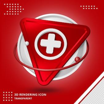 Além de ícone de símbolo médico em renderização 3d