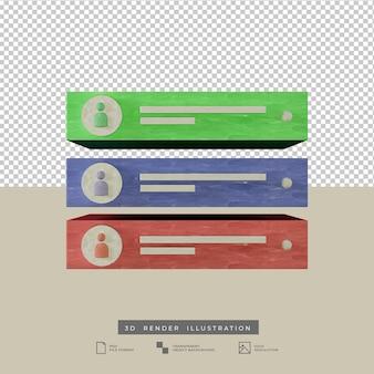 Alerta de pós-notificação nas redes sociais, cor pastel, vista frontal, ilustração 3d