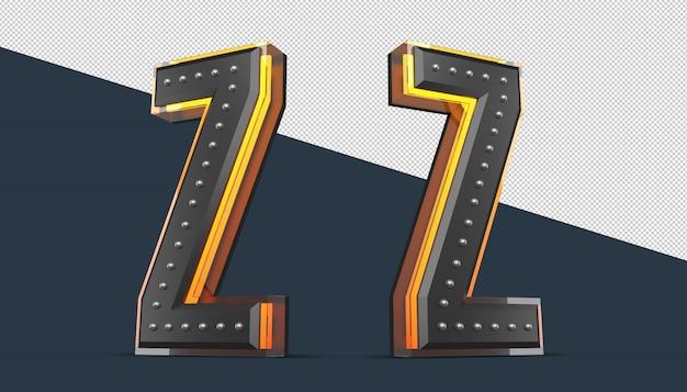 Alfabeto 3d com decoração de pinos e efeito de luz neon