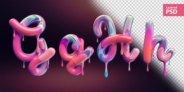 Alfabeto 3d com derretendo a pintura colorida. letras g g h h.