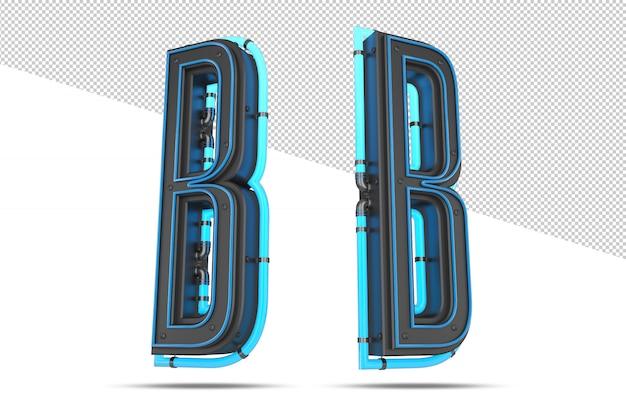 Alfabeto 3d com efeito de luz neon azul