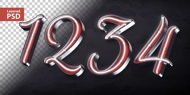 Alfabeto 3d com forma de néon brilhante