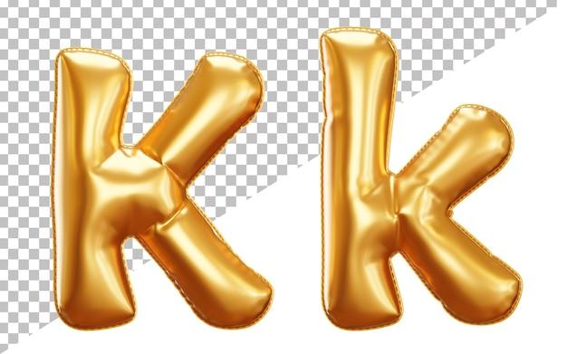 Alfabeto balão de folha de ouro de hélio 3d letra k, maiúsculas e minúsculas