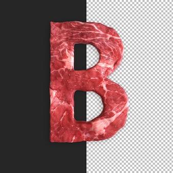 Alfabeto de carne em fundo preto, letra b