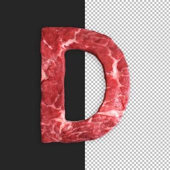Alfabeto de carne em fundo preto, letra d