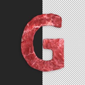 Alfabeto de carne em fundo preto, letra g
