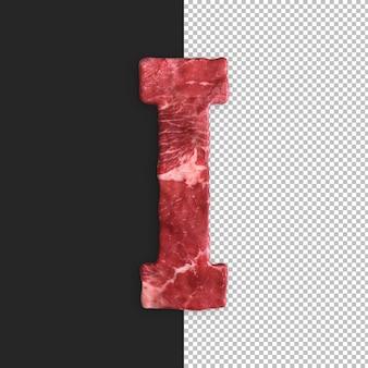Alfabeto de carne em fundo preto, letra i