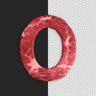 Alfabeto de carne em fundo preto, letra o